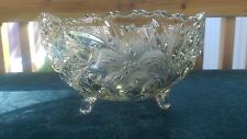 Stunning Antique 3 Footed Press/Cut Glass Bowl