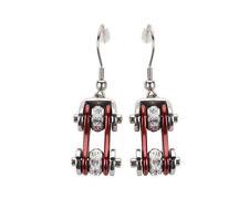 Woman's Biker Stainless Steel Bike Chain Earrings Silver Candy Red USA Seller!