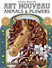 Coloring Book Adult Art Nouveau Animals Pages Designs Relaxing Relief Stress New