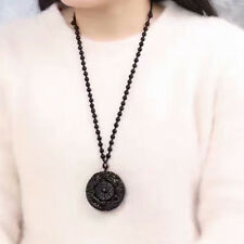 Natural Men's Obsidian Handmade TaiJi BaGua Lucky Pendant Beads Chain Necklace