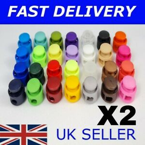 X2 Toggle Cord Stopper Clamp Lock Drawstring 4MM Buckle & Metal Spring Plastic
