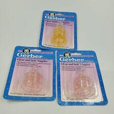 Lot 6 Vintage Gerber Soft & Clear Nipples Standard Bottles Opened Pack Infant