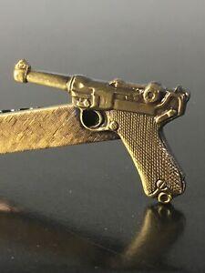 Vintage Luger Pistol Tie Tac Pin Clasp Antique Gold Hunter Outdoorsman Design
