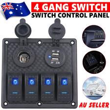 Waterproof Car Marine Boat RV 4 Gang Circuit LED Rocker Panel Switch Accessories