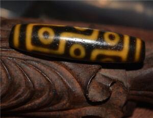 ancient old tibetan 9 eyes dzi bead amulet antique real necklace nine eyed gzi