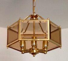 Vintage Italian Brass Beveled Glass Hall Porch Lantern Chandelier Ceiling Light