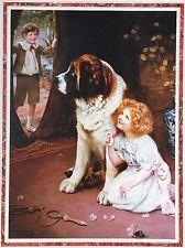 SAINT BERNARD St DOG VICTORIAN CHILDREN FINE ART PRINT Arthur Elsley Hide & Seek