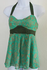Fei Anthropologie Halter Top 6 Tank Floral Emerald Green Gold Swmfins FREE SHIP