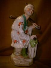 "Old Asian Man w/ Yoke Holding Gourd Figurine-Made in Taiwan-Large 14"" Tall"