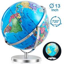 """13"""" Illuminated World Globe 720° Rotating Education Cartography Map W/ LED Light"""