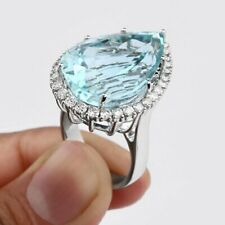 28.70 Carat Aquamarine and White CZ 925 Sterling Silver Engagement Wedding Ring
