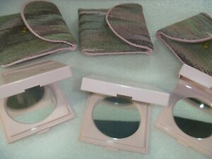 3 MARY KAY PINK DOUBLE MIRROR MAKE UP COMPACTS WITH TAPESTRY SNAP CASE NOS