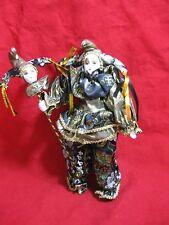 Porcelain Clown Doll Mime Jester Mardi Gras & Matching Head on Stick Gold Black