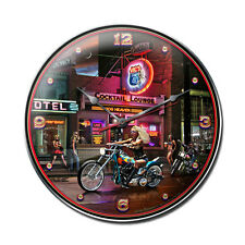 """Biker Bar 14"""" Wall Clock - Hand Made in the USA with American Steel"""