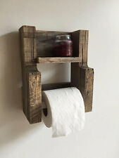 toilet Paper Holder Reclaimed rustic Wood Bathroom Furniture Wall Shelf