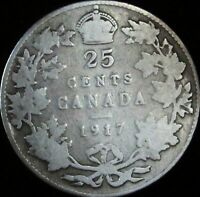 1917 Canada Silver 25 Cents - KM# 24 - VG- (Good+) - JG