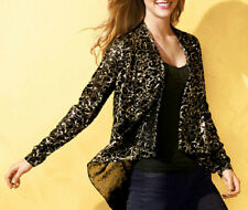 Gold & Black Foil Jacket Flowing Dressy Mark Avon Thin Dress it Up Top Sm-Med