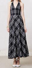 Maeve Plaid Adair Halter Dress Sizes 0, 6, 12 Black Motif NW ANTHROPOLOGIE Tag