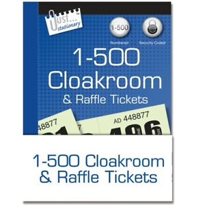 Raffle Cloakroom Tickets 1-500 Book Tombola Draw Numbered Different Colours
