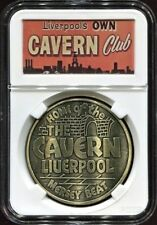 Beatles Cavern Club 1960s Medallion in a Cavern Club Old Advertising Banner Case