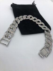 """Silver Cuban Link Bracelet Men Women 8"""""""