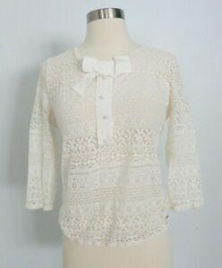 CAROLINA HERRERA white lace sweater size L