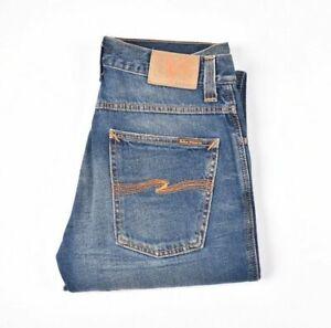 26664 Nudie Jeans Slim Jim Recycle S/H Bleu Hommes Jean En Taille 31/32