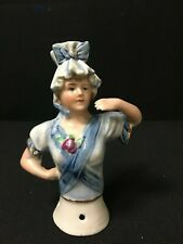 "5"" Vintage German Extended Arms Blue Lady Half Doll"