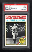 1976 TOPPS #345 BABE RUTH ALL TIME ALL-STAR PSA 9 MINT CENTERED!
