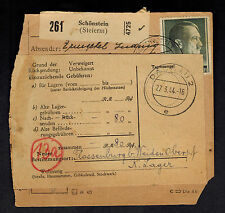 1944 Germany Dachau Concentration Camp Parcel Cover Forwarded to Flossenburg