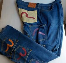 RARE Men's EVISU Artistic Pocket Logo All Over Jeans 40 x 33