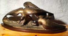 Imposante STATUETTE ART DÉCO Paire d'OISEAUX en PLÂTRE Patine Bronze No 2017