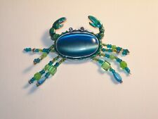 Chico's Crab Tiger's Eye Cachobon rhinestones Turquoise Blue enamel bead Brooch