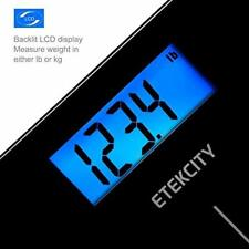 Digital Weight Bathroom Scale w/ Step On Technology w/ Body Tape Measure Black