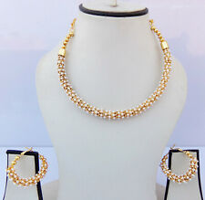 South Indian Jewelry Bollywood Gold Plated Pearl Beads Cz Necklace Earrings Set