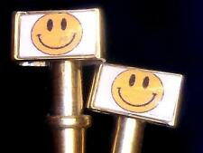 2-Smiley Face Quality Metal USA Cribbage Board Pegs With Free Velvet Pouch  a