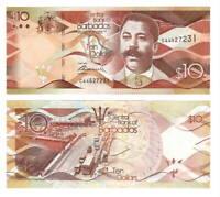 BARBADOS UNC $10 Dollar Banknote (2013) P-75a Paper Money