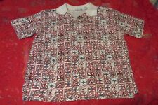 PK ELLIOT Women's Short Sleeve , collared, 3 button Shirt, Size Large