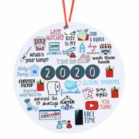 2020 Christmas Xmas Tree Hanging Round Pendant Party Decor Family Ornament Decor