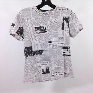 EUC Shein Newspaper Print Design T Shirt Small