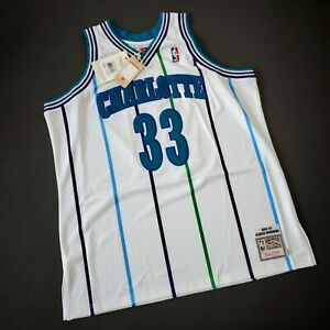 100% Authentic Alonzo Mourning Mitchell Ness 92 93 Hornets Jersey Size 52 2XL