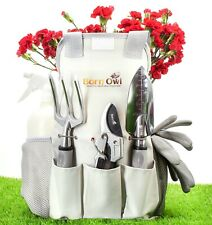 BARN OWL 9 PIECE STAINLESS STEEL GARDEN TOOLS WITH TOTE BAG - GIFT FOR GARDENERS