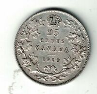 CANADA 1910 TWENTY FIVE CENTS QUARTER KING EDWARD VII STERLING SILVER COIN