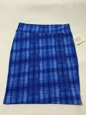 NWT 2XL Cassie Skirt Lularoe Blue White Weave Look XXL Womens Stretch