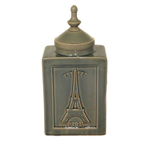 "Urban Designs Eiffel Paris 14"" Decorative Ceramic Accent Jar - Cracked Green"