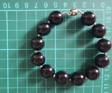 Bracelet: black ONYX beads, natural stones, 925 silver details, NEW