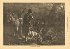 Fox Hunting, Terrier Dogs, Earth Stopping, Vintage w/text, 1872 Antique Print