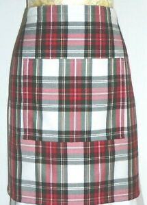 SHORT BISTRO / CAFE / PUB APRON,LOVELY DRESS STEWART TARTAN. Made in Scotland