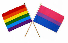 "12x18 12""x18"" Wholesale Combo Gay Pride Rainbow & Bi Bisexual Stick Flag"