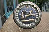 """Vintage Copper Silver Brass Tone Etched Egypt Pharaoh On Chariot Plate 9.5"""""""
